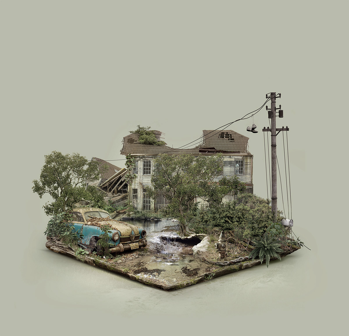Islands Digitally Composed From Images of Abandoned Sites by Fabio Araujo
