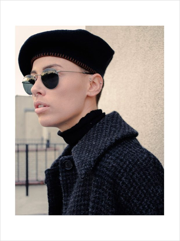 hat: J. Crew, sunglasses: Rayban turtleneck & coat: Acne Studios