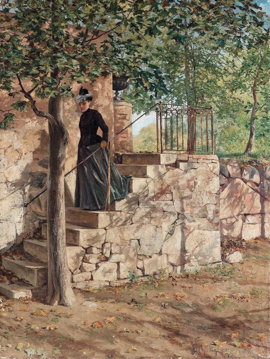 """""""Höstsol / Parkmotiv från Sparreholm"""" (Autumn sun / Park scene from Sparreholm) , 1888"""