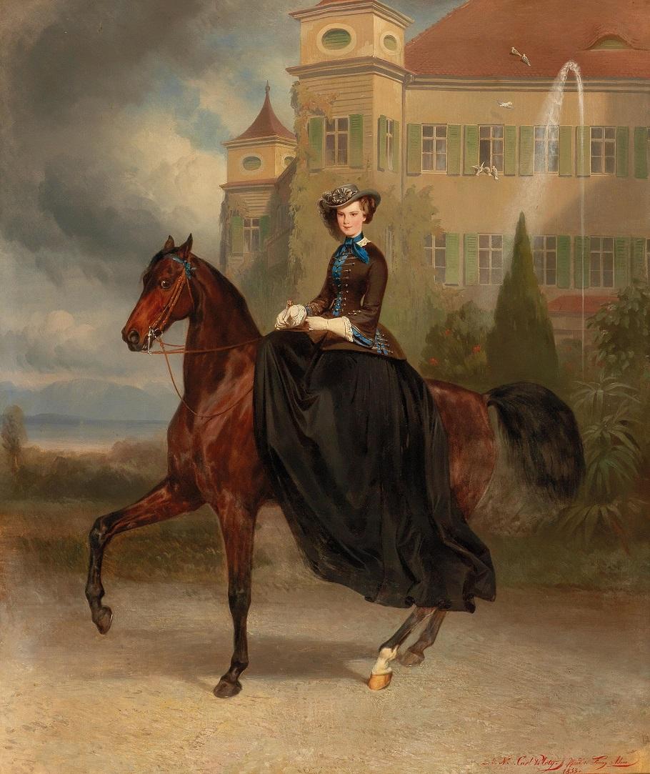 Empress Elisabeth of Austria as bride on horseback in Possenhofen , 1853.Jpeg