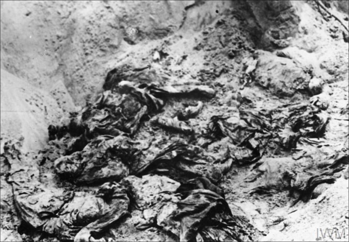 Части тел убитых польских офицеров на дне захоронения