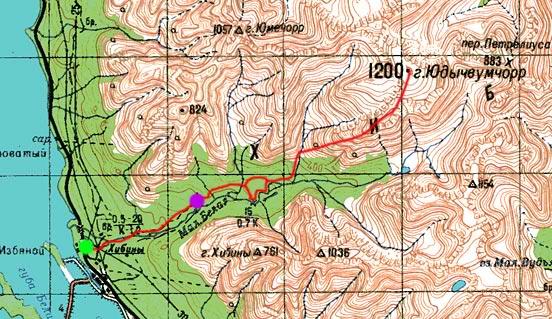Карта хождений по Хибинам
