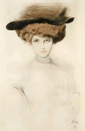 Поль Сезар Эллё Paul César Helleu Элегантная дама в шляпе с перьями