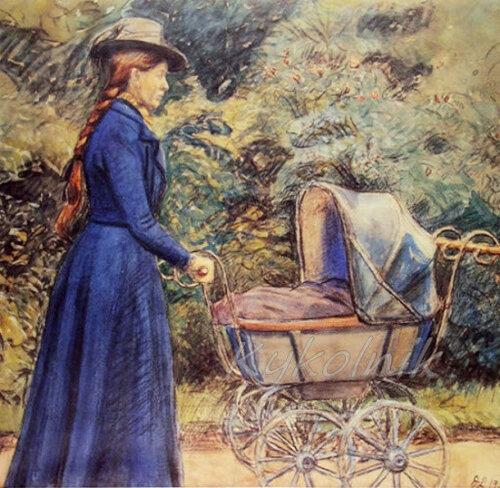 Альхед с детской коляской, 1901 Йоханнес Ларсен Johanes Larsen