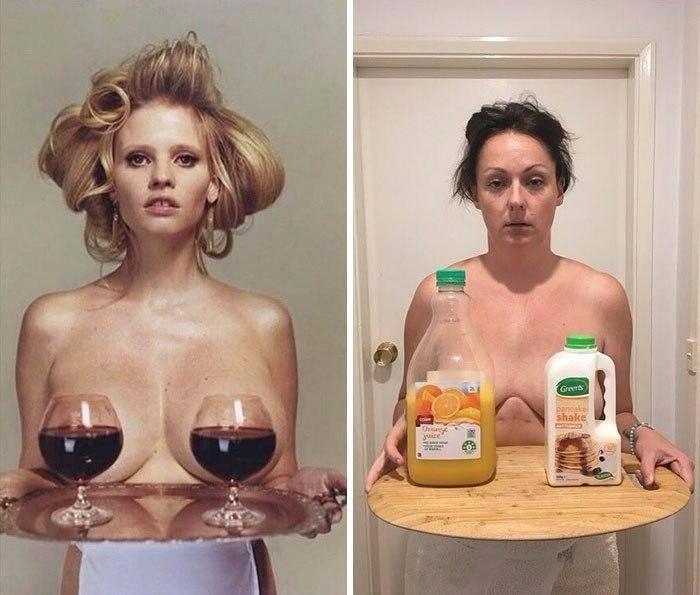 Селеста Барбер продолжает развлекаться, воссоздавая фотографии знаменитостей из инстаграма