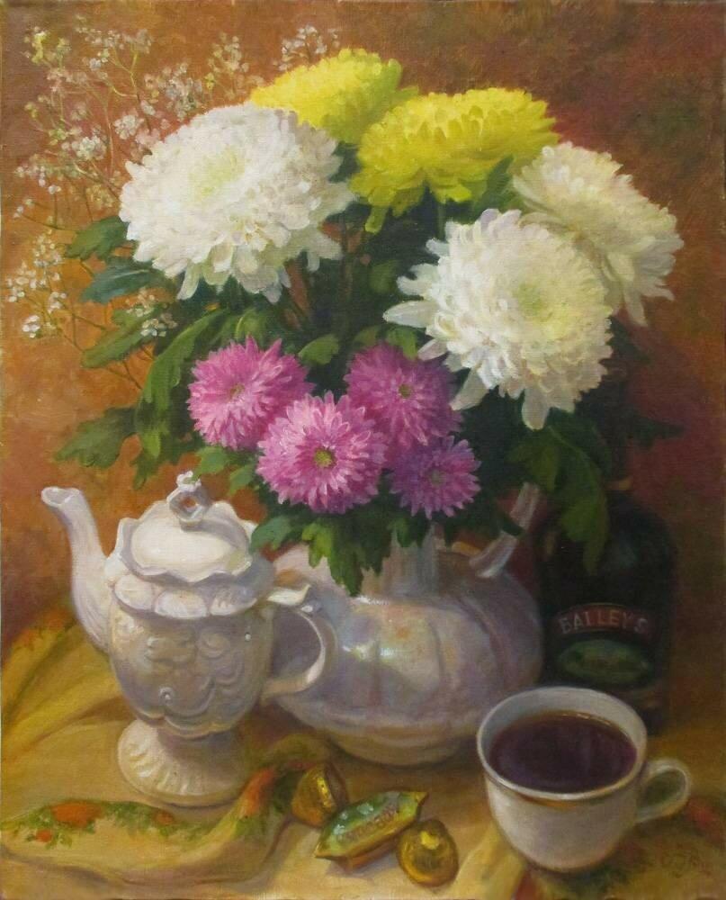 Шумакова Елена Валерьевна . Хризантемы и чашка чаю.