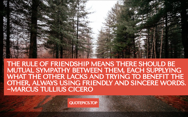 The rule of friendship means there should be mutual sympathy between them, each supplying what the other lacks and trying to benefit the other, always using friendly and sincere words. ~Marcus Tullius Cicero