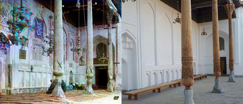 Внутри мечети Богоэддин Близ Бухары. 1907 и 2017 год. №20004.jpg