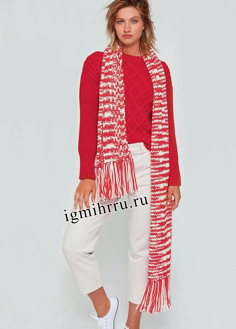 Красный шерстяной пуловер, дополненный красно-белым шарфом. Вязание спицами