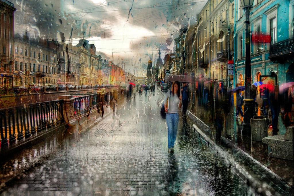 картинка дождливого города