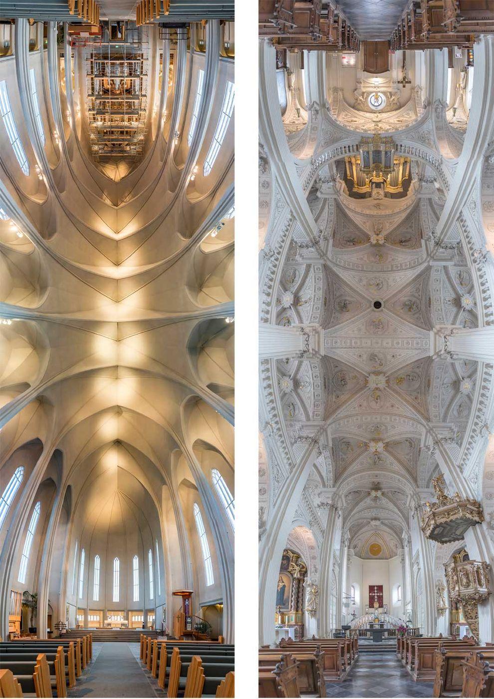 Слева: церковь Хатльгримскиркья в Рейкьявике, Исландия. Справа: церковь святого Андрея в Дюссельдорф