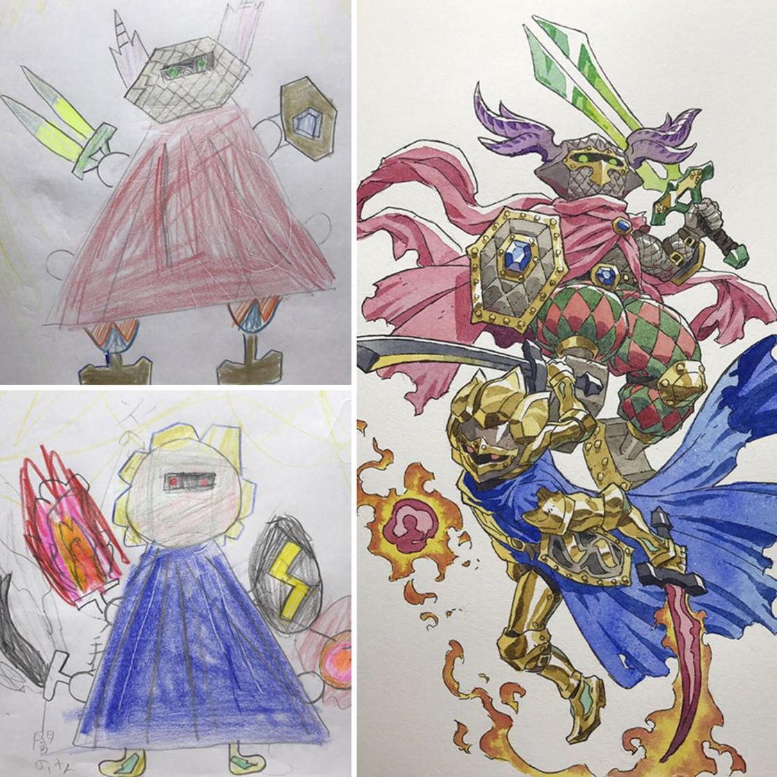 Il continue de transformer les dessins d'enfants en personnages badass