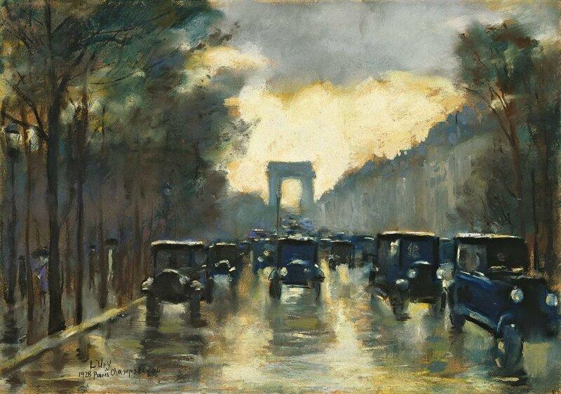 Lesser Ury. Champs-Elysees mit Arc de Triomphe 1928.