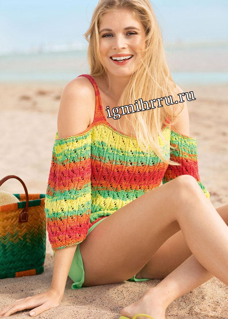 Разноцветный летний пуловер на бретелях. Вязание спицами