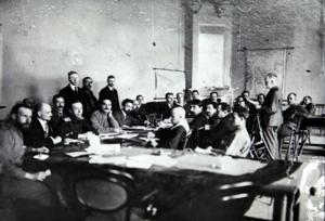 Представители армии и флота во время одного из заседаний Петроград, май 1917