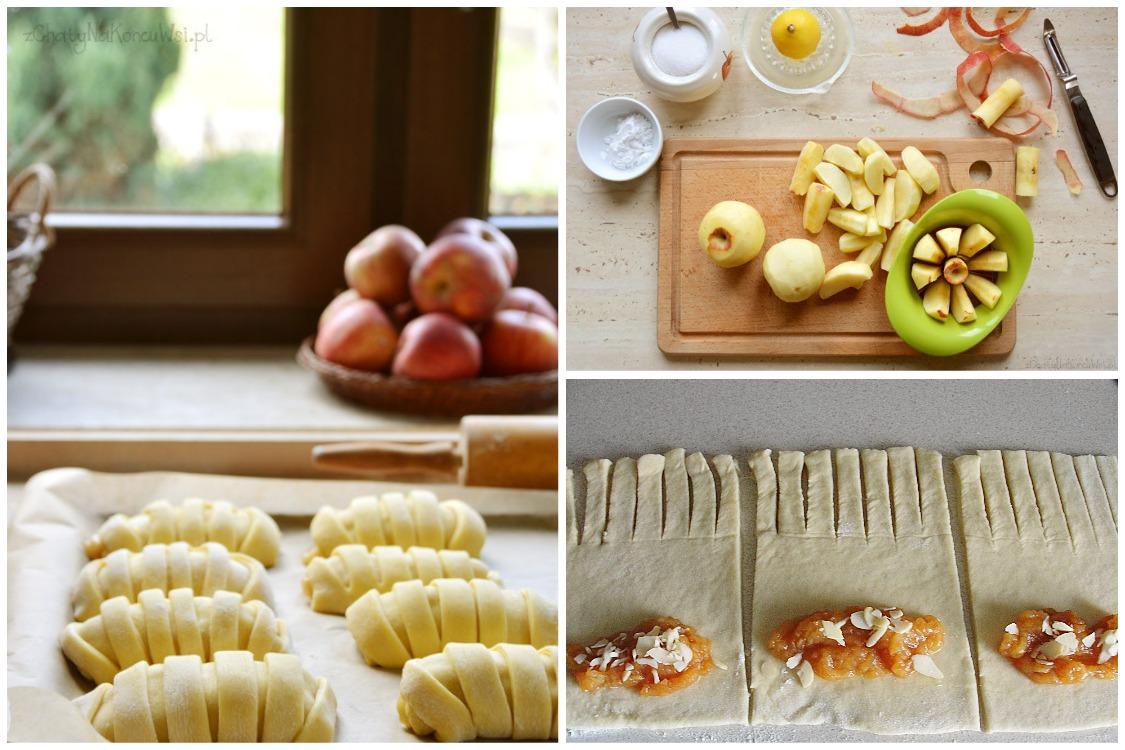 Красивые трубочки с яблоками из дрожжевого теста, рецепт с фото