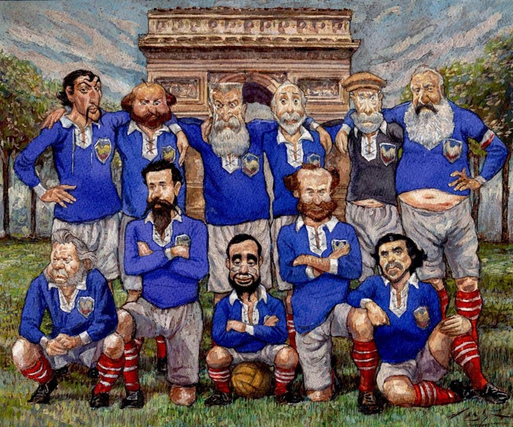 Французская футбольная команда навсегда. Гоген, Сезанн, Родин, Дега, Ренуар, Моне, Домье, Сера, Тулуз-Лотрек, Мане, Делакруа. 14 июля 1887 года, Париж, Белль