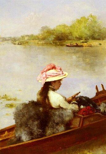 Фердинанд Гейльбют нем. Ferdinand Heilbuth; 1826-1889 Прогулка по озеру.