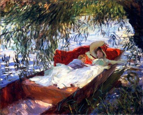 John Singer Sargent, 1856 — 1925   Две спящие женщины в лодке под ивами 1887