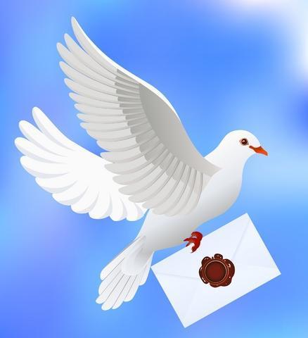 День почты! Голубь несет письмо с печатью
