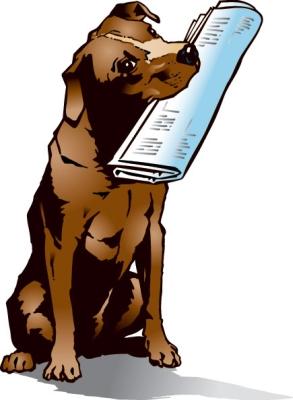 Праздник почты. Песик держит газету