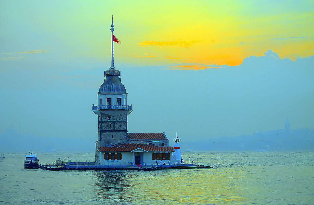 Istanbul. Maiden's tower in HDR sunset light, Extreme colors