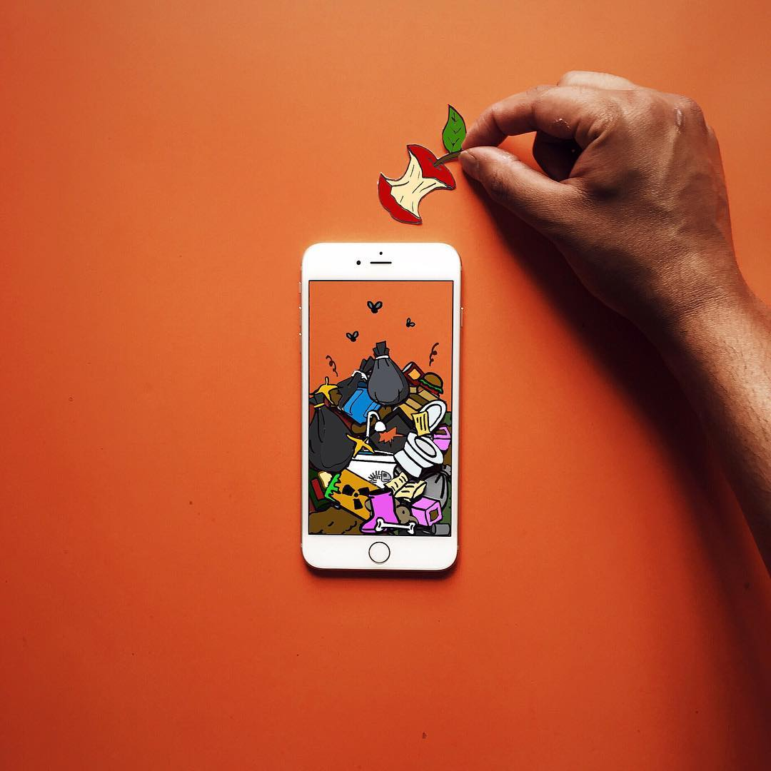 Quirky iPhone and Paper Art