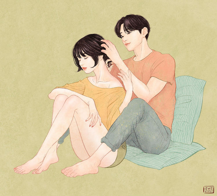 Relationship Drawings Capture Intimate Moments Between Couple