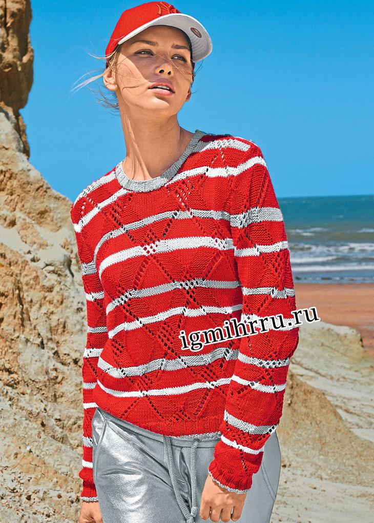 Красный пуловер с бело-серыми полосками и ромбами. Вязание спицами