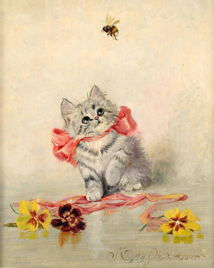 информацией кошки на старинных открытках основных ролях заняты