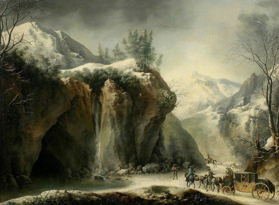 Скалистый зимний пейзаж с экипажем (A rocky winter landscape)_74 х 100_х.,м._Частное собрание_обработано.jpg