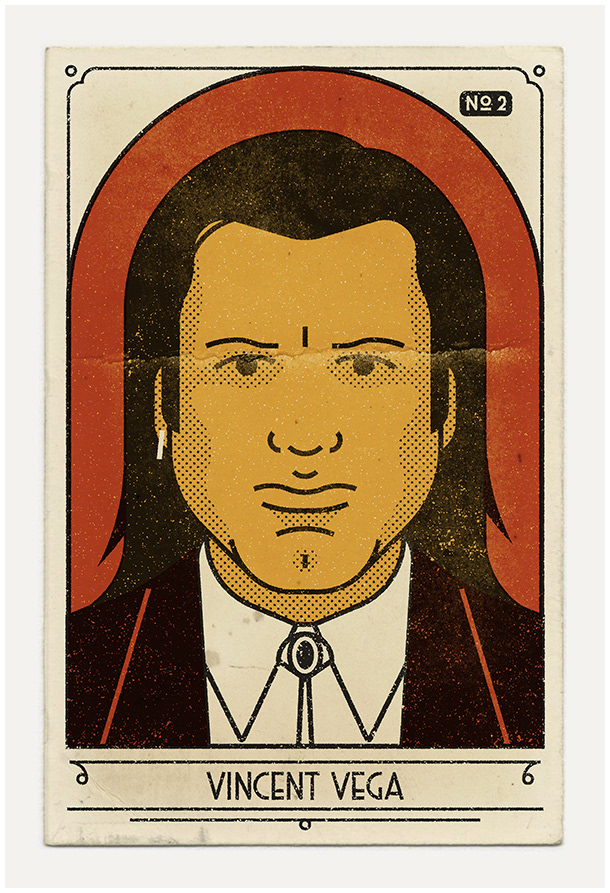 Iconic Pulp Fiction Characters Illustrated