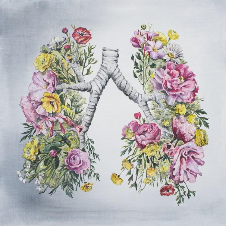 Ilustracoes anatomicas entrelacam o corpo humano com a natureza