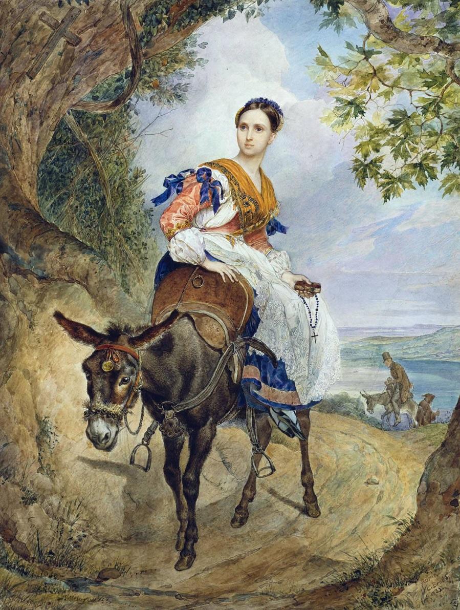 Портрет Графини О.П.Ферзен на ослике.