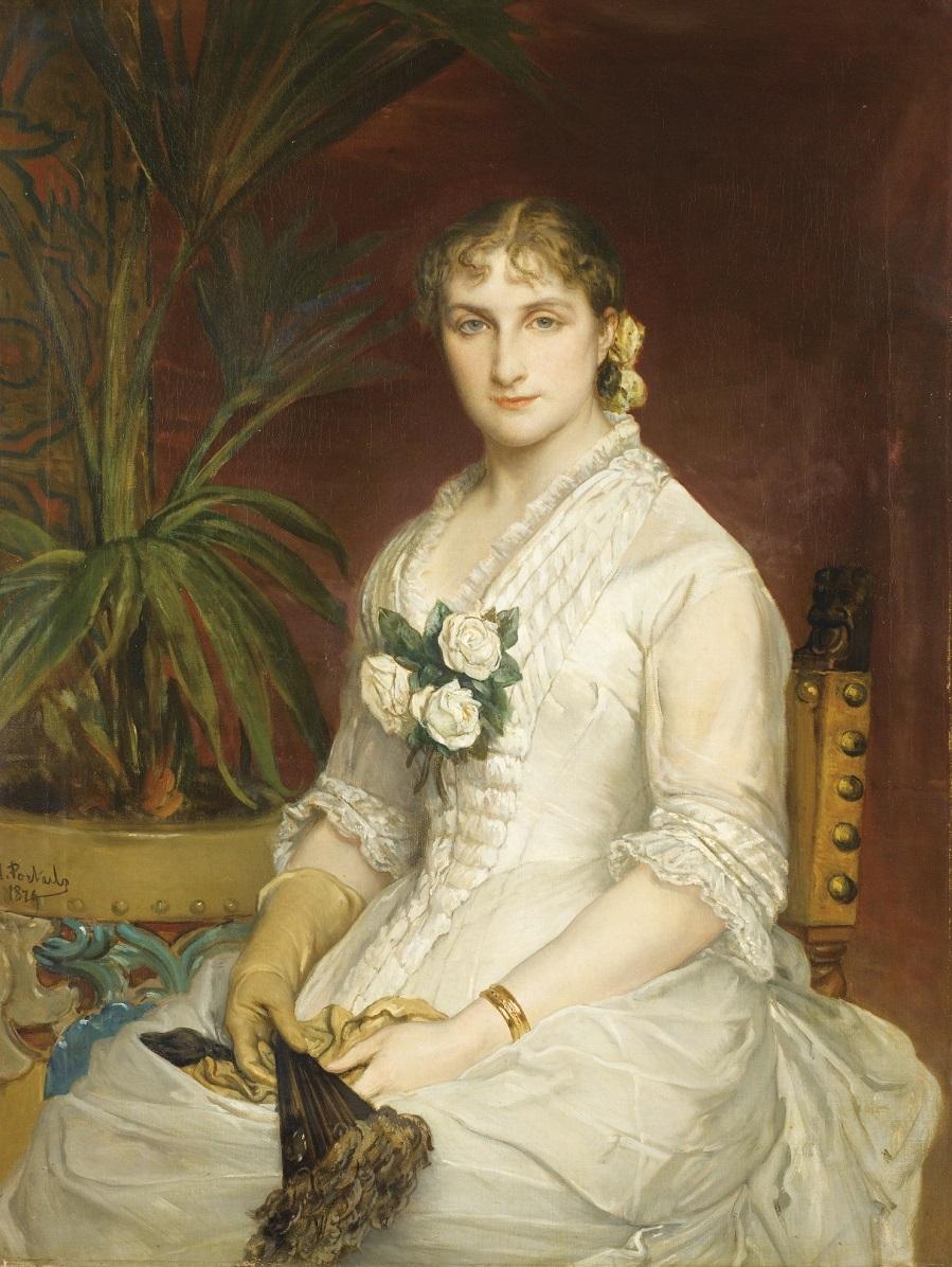 PORTRAIT DE FEMME ASSISE, À L'ÉVENTAIL, 1879.