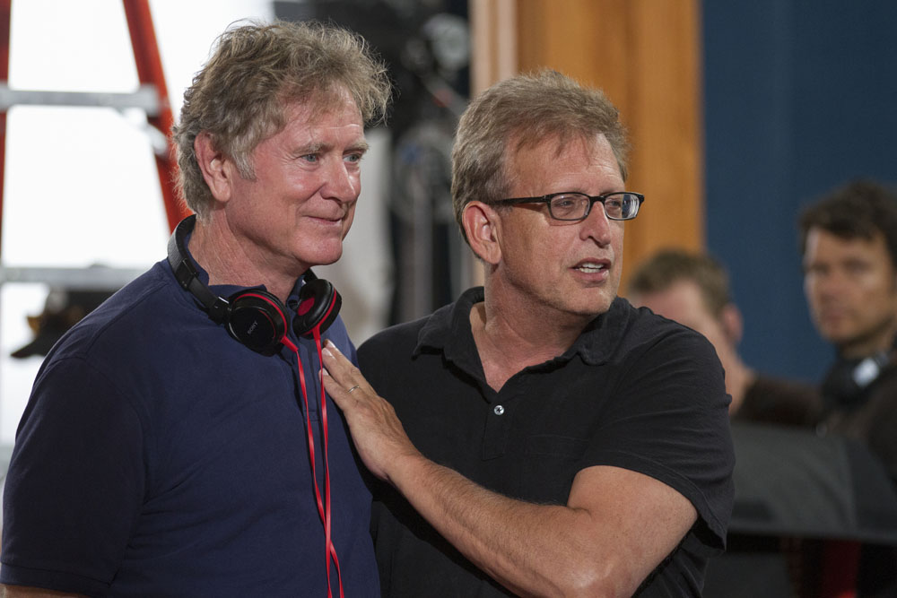 Producer Joe Roth (right) and director Randall Wallace on the set of TriStar Pictures' HEAVEN IS FOR REAL.
