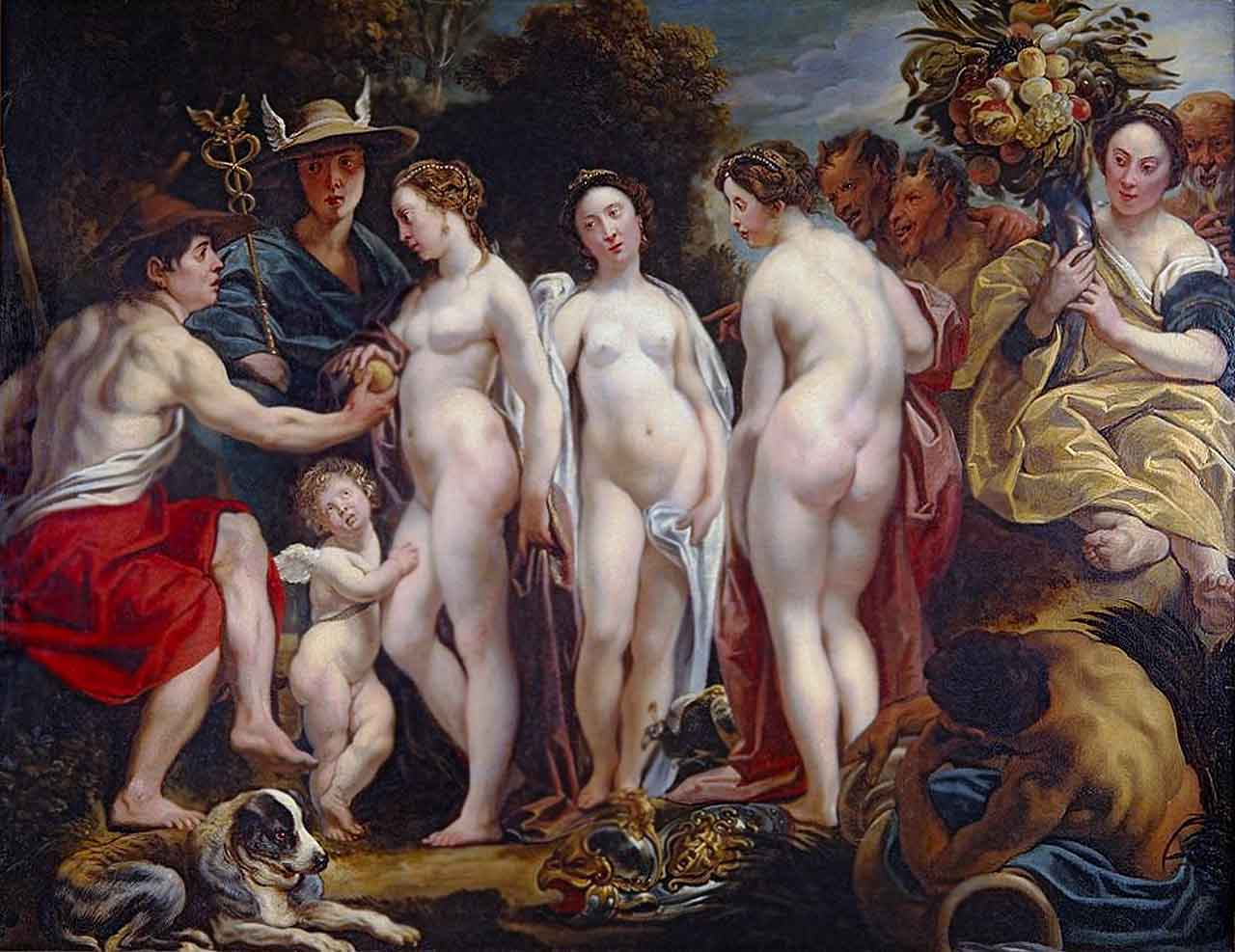 The Judgment of Paris. between 1620 and 1625, Jacob Jordaens (1593–1678), Lowe Art Museum, University of Miami,  Coral Gables, Florida, United States