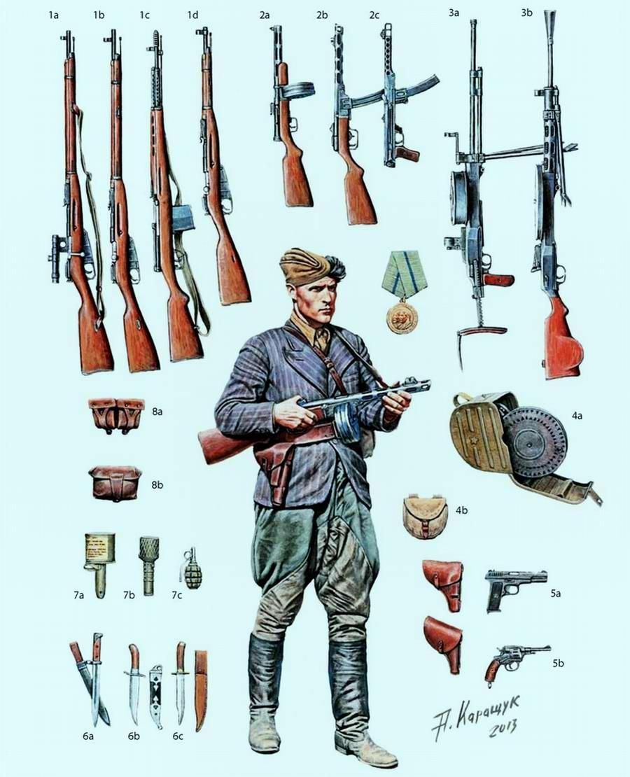 Советские партизаны и различные виды советского стрелкового оружия, имевшегося у них на вооружении