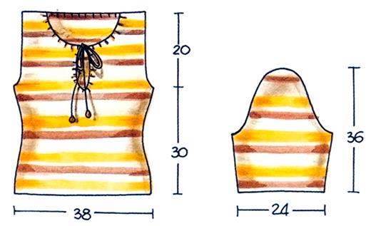 Пуловер в полоску схема