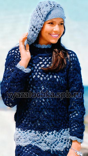 Длинный кружевной пуловер и берет