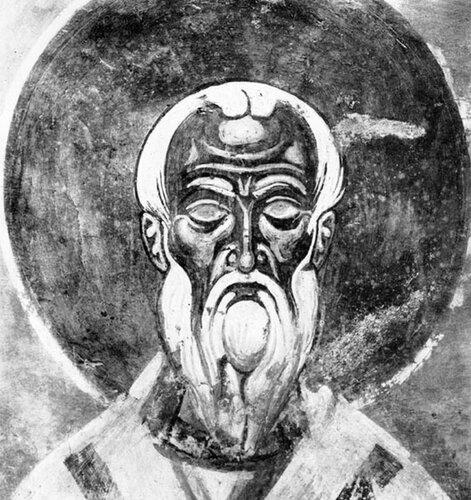Святой Преподобный Дометиан, Епископ Мелитинский. Фреска церкви Спаса на Нередице близ Новгорода. 1199 год.