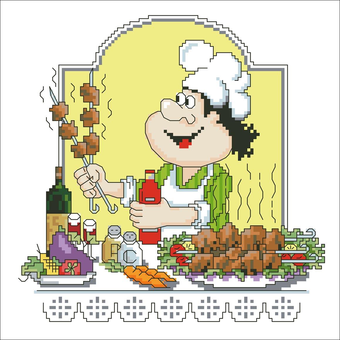 День повара. Повар готовит шашлык