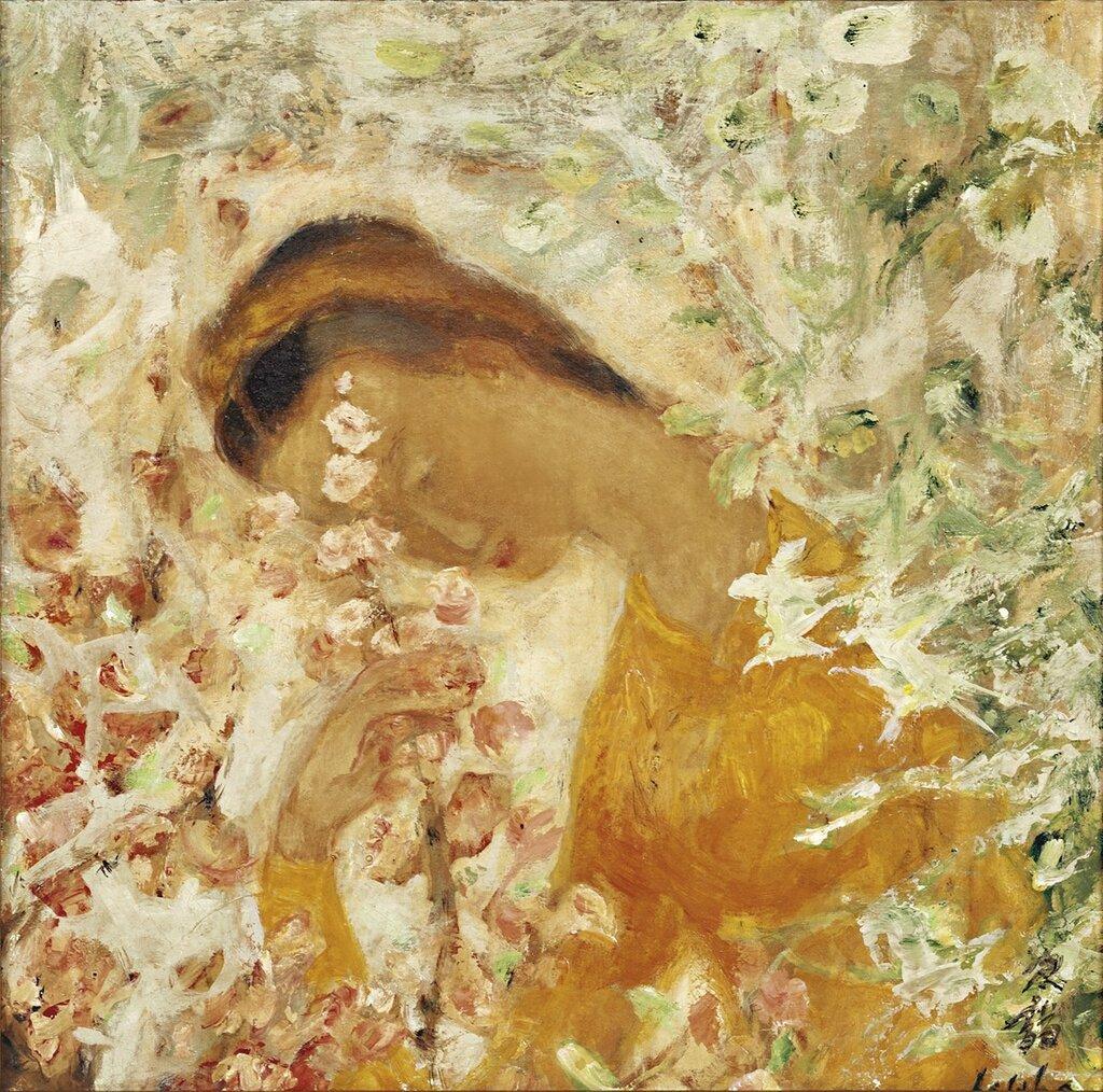 Девушка с цветущей персиковой ветвью. 32.5 х 32.5 см. масло по шелку..jpg