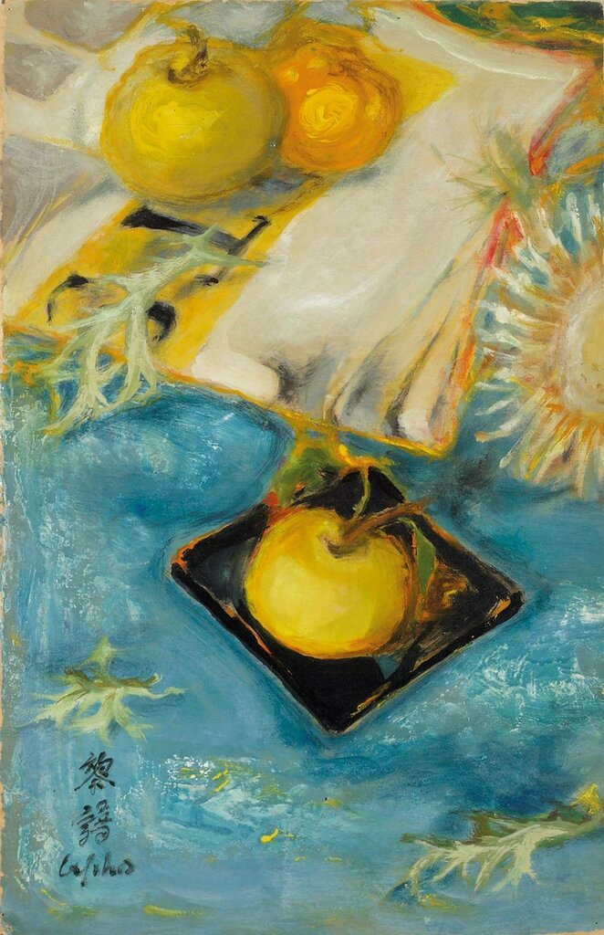 Натюрморт с яблоками. 37.5 х 24.5 см. масло, шелк.jpg