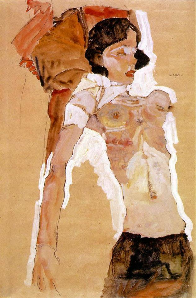 Шиле любил рисовать портреты, как чужие, так и собственные. Он также писал пейзажи и натюрморты. В п