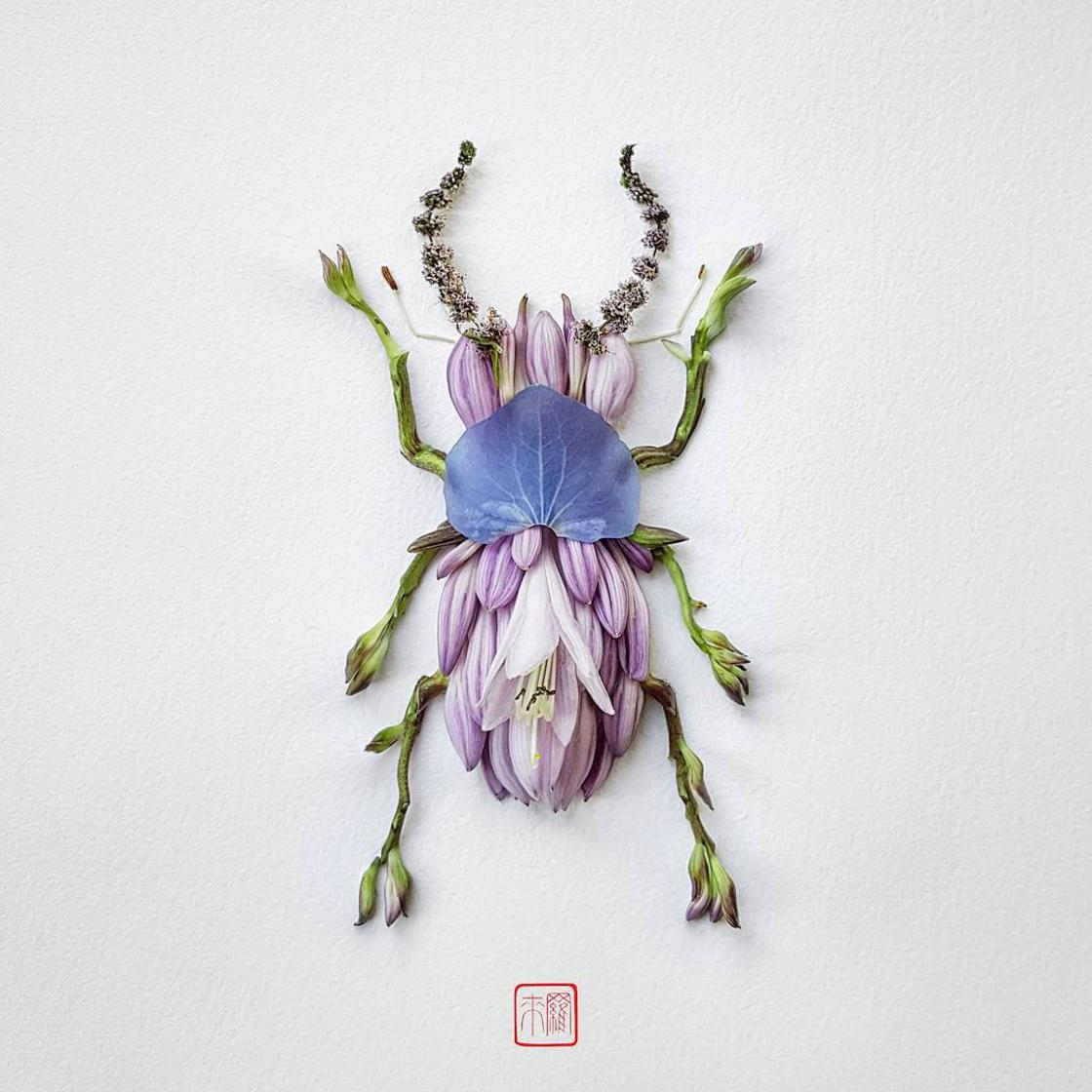 Natura Insects – The delicate floral compositions of Raku Inoue (10 pics)