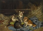 Four Kittens with Grasshopper in a Stable.jpg