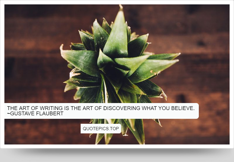 The art of writing is the art of discovering what you believe. ~Gustave Flaubert