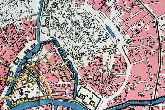 Часть карты Москвы 1812 года с указанием выгоревших от пожара мест.