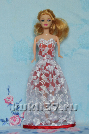 белое платье для Барби